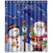 GreenDecor Merry Christmas Santa Claus And Snowman Waterproof Shower Curtain Set With Hooks Bathroom Accessories Size