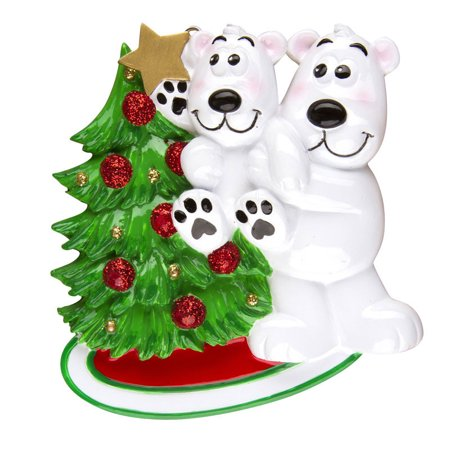 polar bear with child decorating tree personalized christmas ornament do it yourself