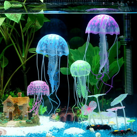 6Pcs Artificial Jellyfish Decor Ornament for Aquarium Fish Tank, Fake Jellyfish Aquarium Decorations, Glowing Jellyfish Effect, Safe For Fish, Instant Suction Cup