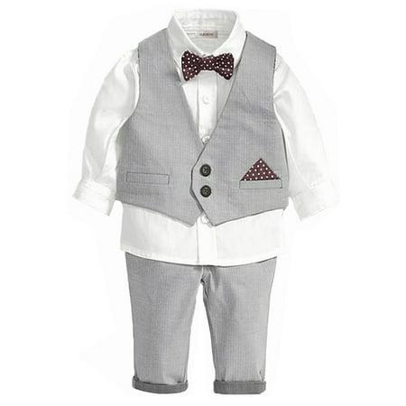 StylesILove Little Boy 4-piece Chic Tuxedo Outfit (18-24 Months) (Boys In Tuxedo)