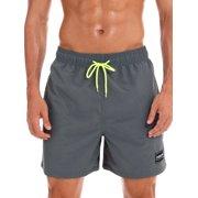 New Men Swim Trunks Shorts Pants Board Shorts Boardshorts Swimwear Swimsuit Beachwear Casual Surfing Swimming Bathing Suit Quick Dry Summer Grey XS