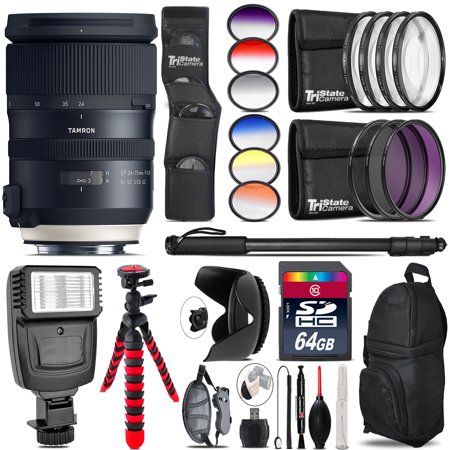 Tamron 24-70mm VC G2 for Nikon + Flash + Color Filter Set - 64GB Accessory