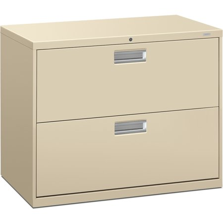 - HON Brigade 600 Series Lateral File, 2 Drawers, Polished Aluminum Pull, 36