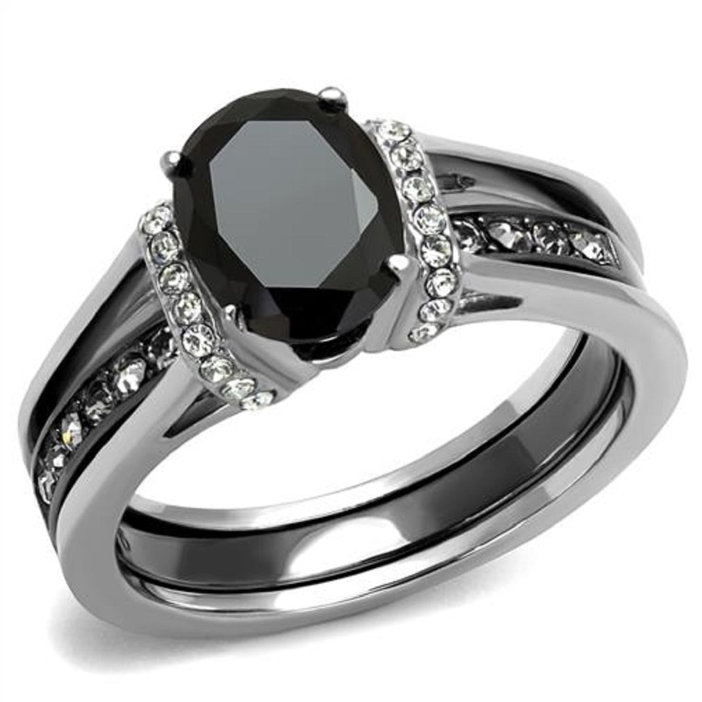 New 2 Piece Stainless Steel Two Toned Onyx Black CZ Wedding Ring Set Sizes  5 10   Walmart.com