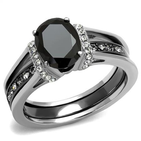 New 2 Piece Stainless Steel Two Toned Onyx Black CZ Wedding Ring Set Sizes 5 10