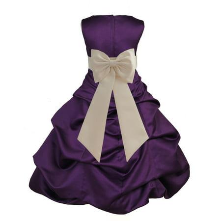 Ekidsbridal Purple Satin Bubble Pickup Christmas Party Bridesmaid Recital Easter Holiday Wedding Pageant Communion Princess Birthday Clothing Baptism 808 Flower Girl Dress