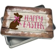 Christmas Cookie Tin Happy Easter Rustic Chocolate Bunny for Gift Giving Empty Candy Snack Pastry Treat Swap Box Cerebrate a Holiday