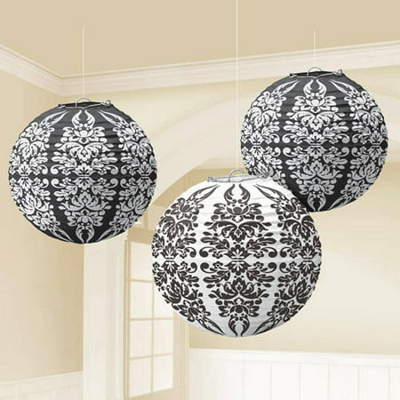 Black Damask Paper Lanterns - Damask Decorations Party
