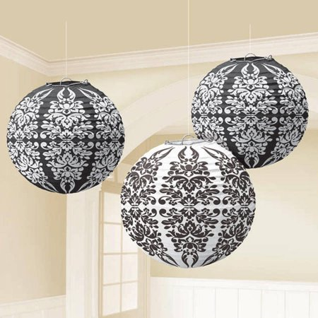 Black Damask Paper Lanterns