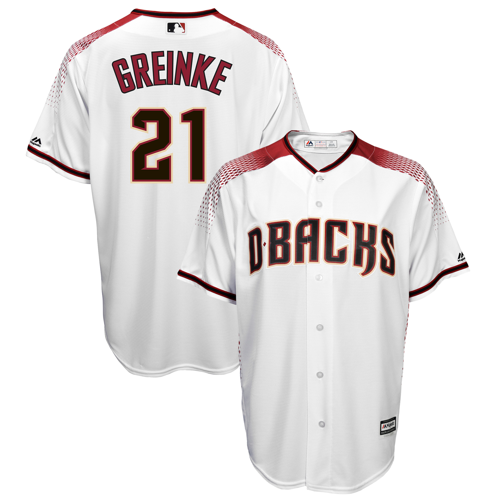 Zack Greinke Arizona Diamondbacks Majestic Official Cool Base Player Jersey - White/Sedona Red