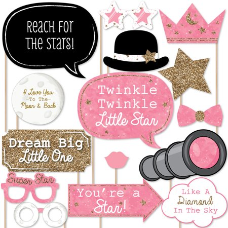 Pink Twinkle Little Star - Photo Booth Props Kit - 20 Count
