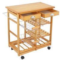 Deals on ZENY Wood Rolling Kitchen Island Trolley Cart Storage