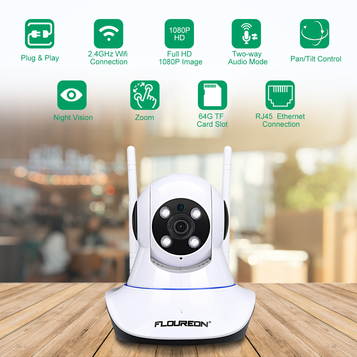 FLOUREON 1080P Baby Monitor, 2.0MP 1920*1080 Indoor IPC WIFI H.264 Wireless PT IR-CUT TF Micro SD Card Slot Nanny IP Security Camera