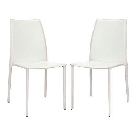 Safavieh Aidan Dining Side Chairs - White Vinyl - Set of 2