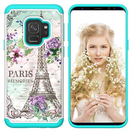 Galaxy S9 Case,Samsung Galaxy S9 Kids Case, Allytech Tough Dual Layer 2 in 1 Rugged Rubber Hybrid Hard PC Soft TPU Impact Back Protective Cover Coloured Drawing with Bling Diamond, Eiffel Tower