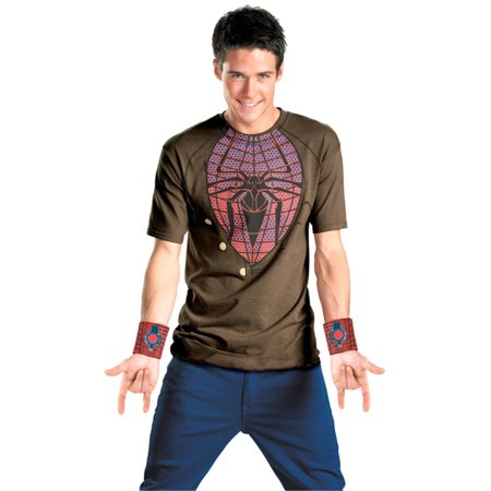 Amazing Cheap Halloween Costumes (Amazing Spider-Man Costume T-Shirt & Web Shooters Adult)