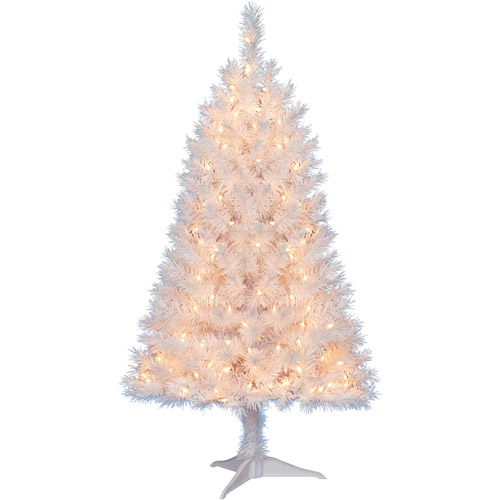 Holiday Time Pre-Lit 4' Indiana Spruce Artificial Christmas Tree, White, Clear Lights