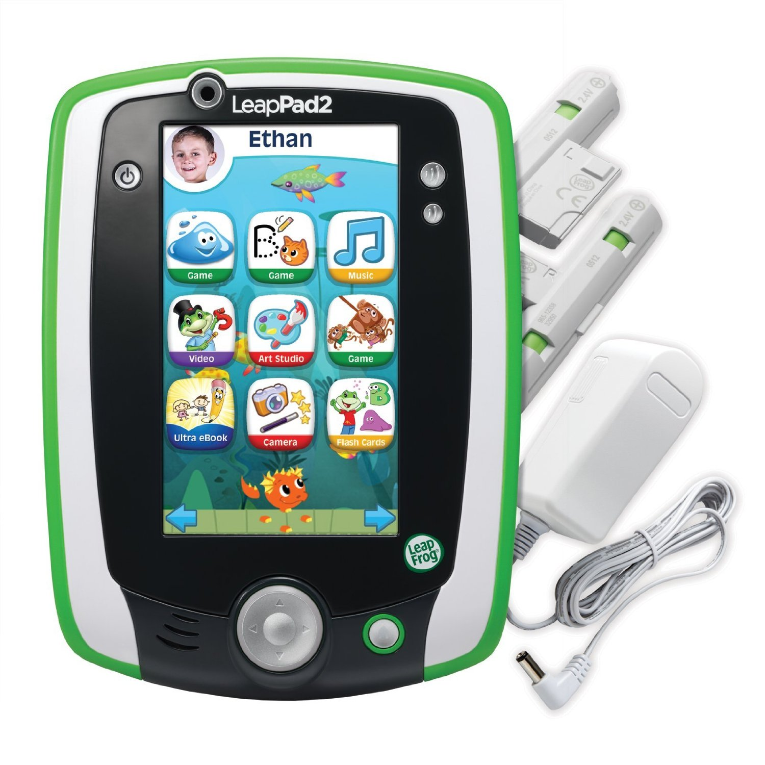 """LeapFrog LeapPad 2 Power Kids Learning Tablet with 5"""" Touch Screen, Recharger Pack, 4GB of Memory, and... by LeapFrog"""