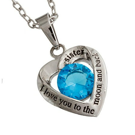 Stainless Steel Light Blue Glass Crystal Heart Sister Pendant
