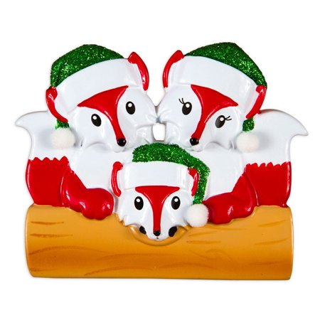 Fox Family Of 3 Personalized Christmas Ornament DO-IT ...