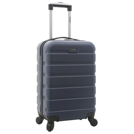 """Wrangler 20"""" Carry-On Rolling Hardside Spinner Luggage Navy (Under Seat Rolling Carry On)"""
