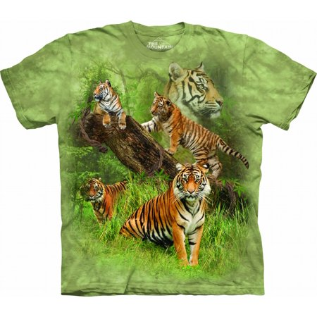 The Mountain WILD TIGER COLLAGE Green Adult Unisex T-Shirt