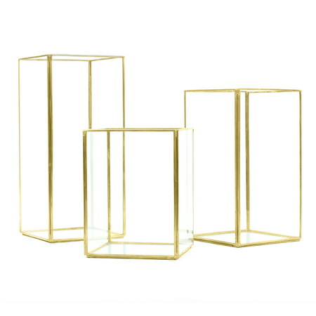 Koyal Wholesale Gold Geometric Hurricane Candle Holder Set of 3 for Wedding Centerpiece, Home Decor, Patio Decor ()