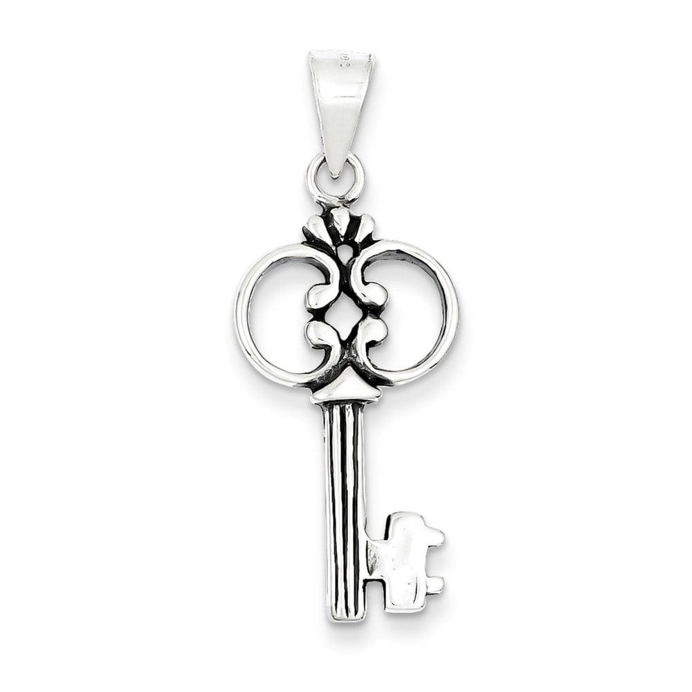 Sterling Silver Antiqued Key Pendant