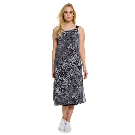Ulla Popken Womens Plus Size Sleeveless Sheer Leopard Print Dress