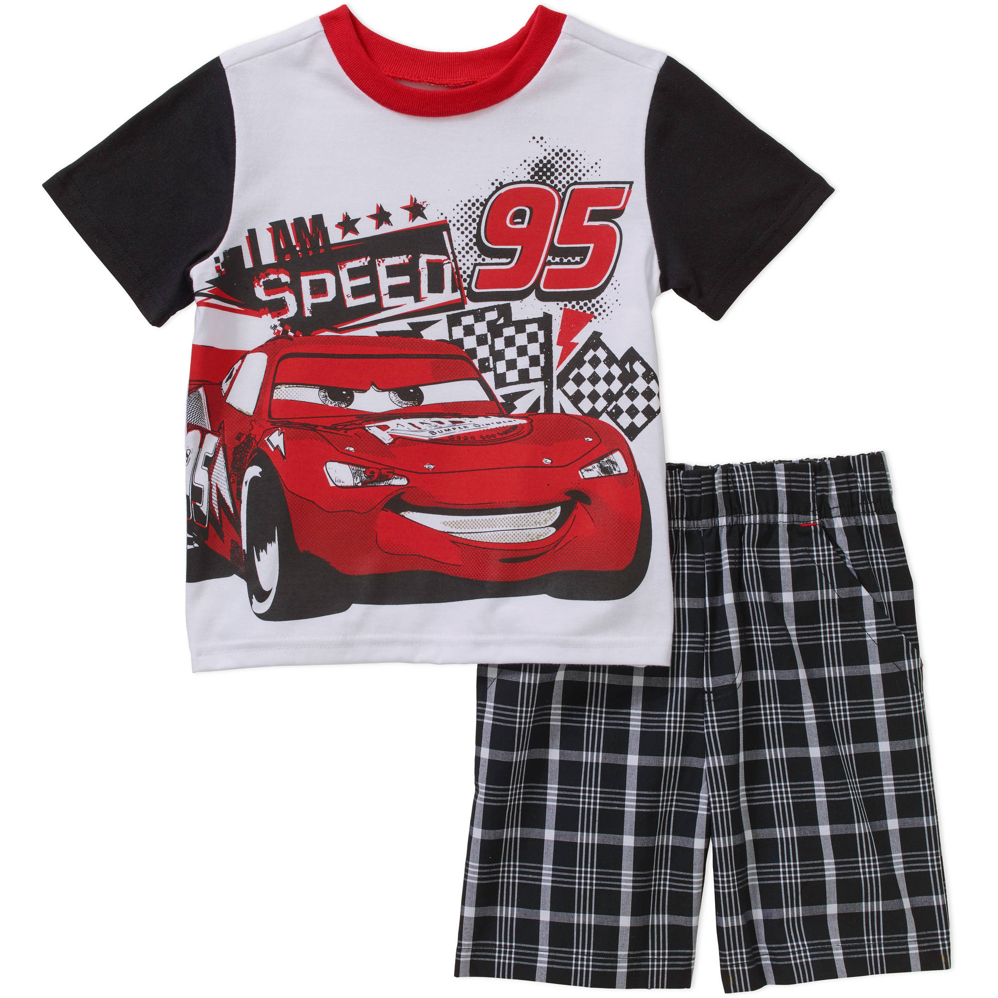 Disney Cars Lightning McQueen Toddler Boys' Tee and Shorts Outfit Set