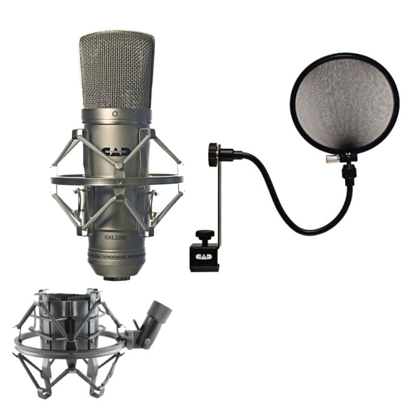 CAD GXL2200 Cardioid Condenser Recording Broadcasting Microphone +15A Pop Filter on 15-Inch Gooseneck