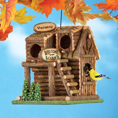 Hanging Northwoods Log Cabin (Fishing Cabin Birdhouse)