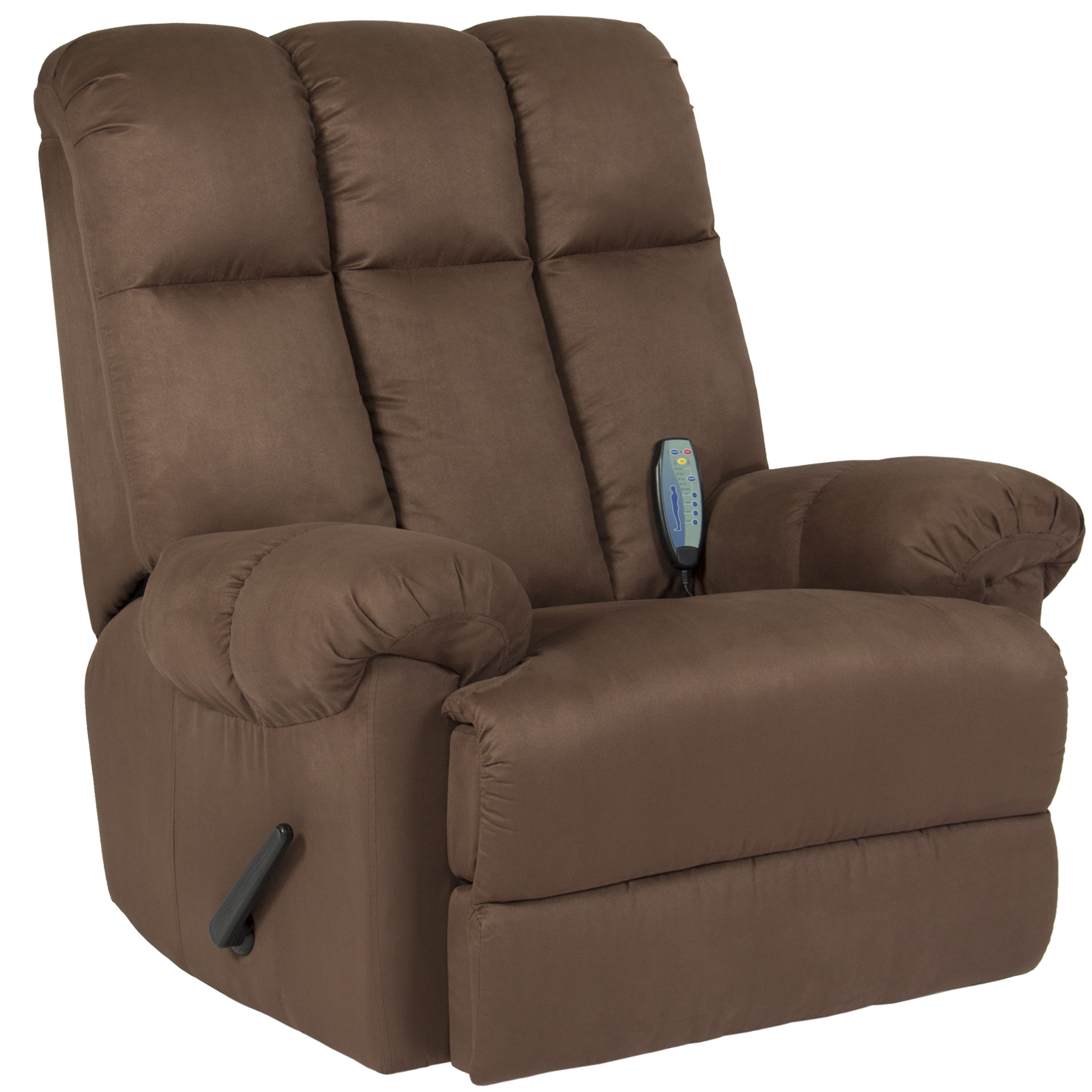 Best Choice Products Deluxe Microfiber Rocker Massage Recliner Heated Sofa  Chair   Brown
