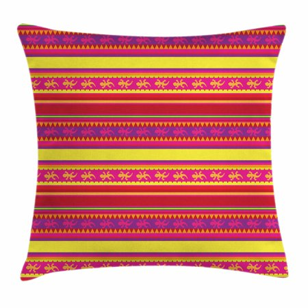 Mexican Throw Pillow Cushion Cover, Vibrant Colored Striped Pattern with Abstract Lizard Animal Figures Folk Borders, Decorative Square Accent Pillow Case, 18 X 18 Inches, Multicolor, by -