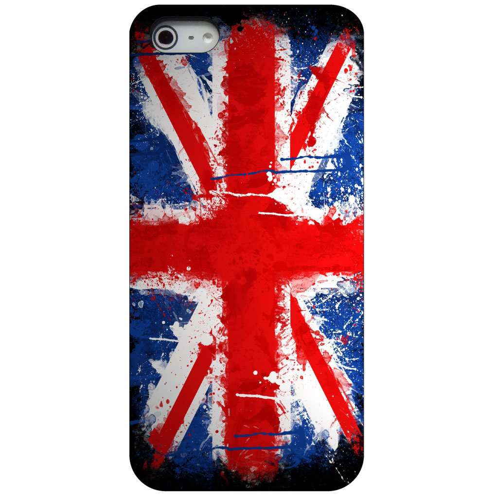 CUSTOM Black Hard Plastic Snap-On Case for Apple iPhone 5 / 5S / SE - Red White Blue British Flag Graffiti