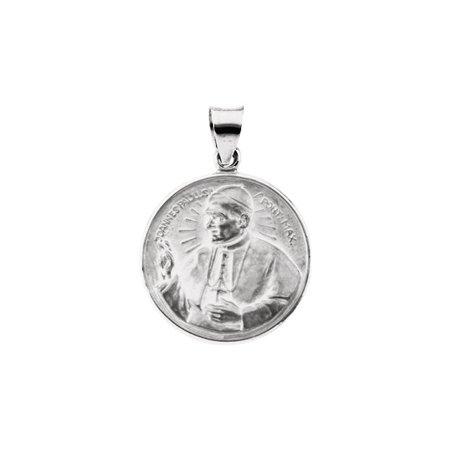 Pope John Paul Medal - 14K White Gold 20.75mm Round Pope John Paul II Hollow Medal