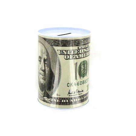 48 Bank - Bulk Buys GM005-48 100 Dollar Bill Tin Money Bank