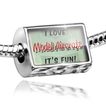 Bead I Love Model Aircraft  Vintage Design Charm Fits All European Bracelets