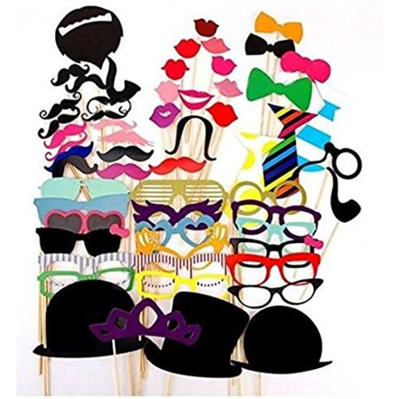 Photo Booth Props Funny Diy Kit For Wedding Party Reunion Birthday Decorations Costume Dress Up Accessories  58Pcs