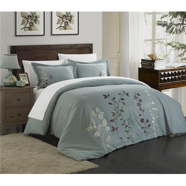 Chic Home DS2940-BIB-US 7 Piece Kylie Floral Embroidered Queen Duvet Set, Green - image 1 de 1