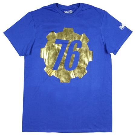 Fallout 76 Shirt Men's Gold Foil Vault 76 Logo T-Shirt