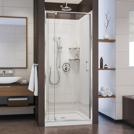 DreamLine Flex 32 in. D x 32 in. W x 76 3/4 in. H Semi-Frameless Shower Door in Chrome with White Base and Backwalls