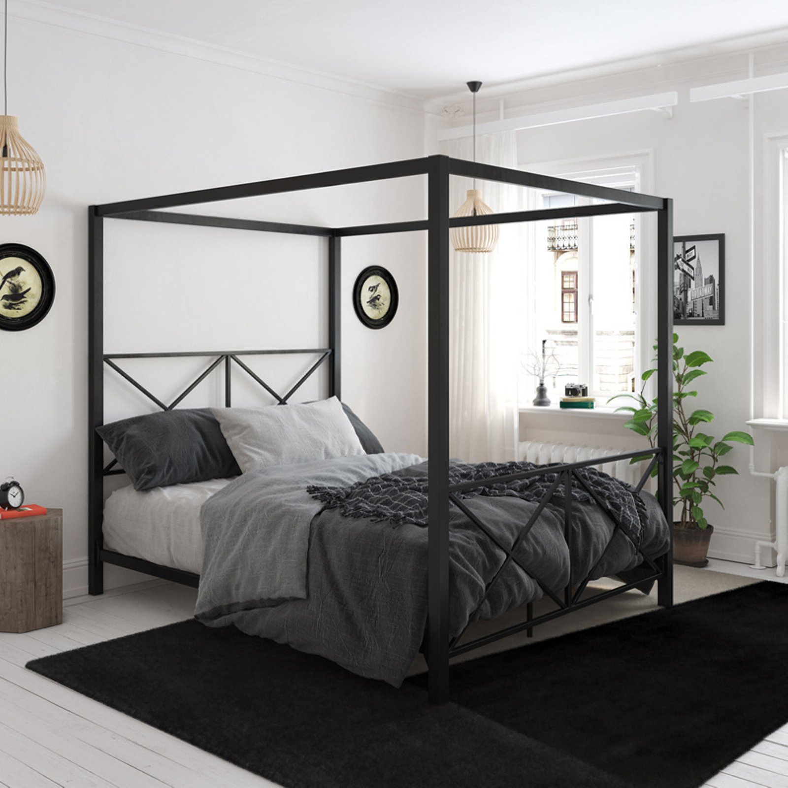 Dhp Rosedale Metal Canopy Bed Frame Multiple Sizes Multiple Colors