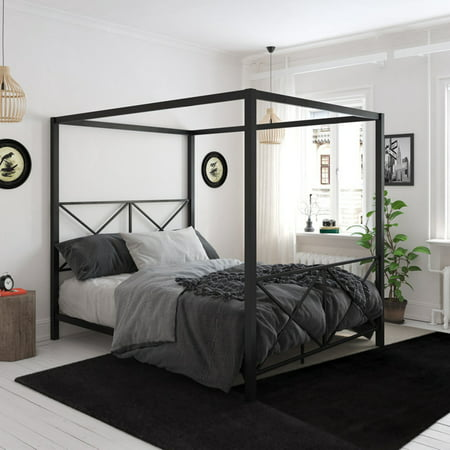 DHP Rosedale Metal Canopy Bed Frame, Multiple Sizes, Multiple Colors ()