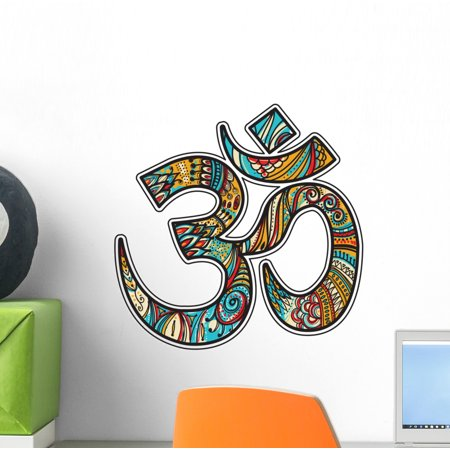Unique Colorful Om Symbol Wall Decal Wallmonkeys Peel and Stick Graphics (12 in H x 12 in W) WM502489 (Om Vinyl Wall Decal)