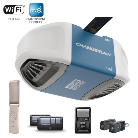 Chamberlain Wi-Fi DC 3/4 HP Belt Drive Garage Door Opener, Two 3-button remotes