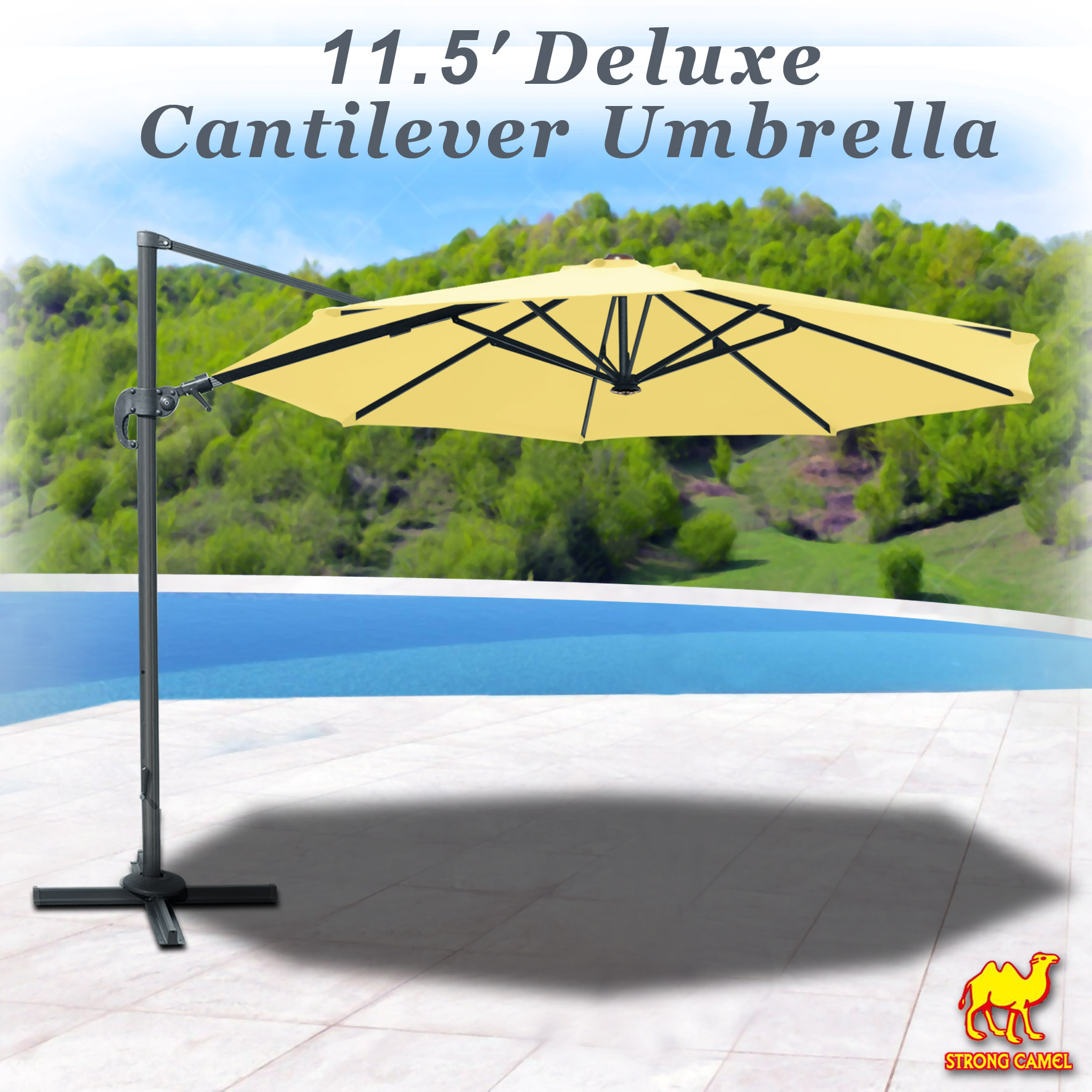 Strong Camel 11.5' Off-Set Hanging Roma Umbrella Deluxe Patio Umbrella Tilt & 360 Rotation Patio Heavyduty Outdoor Sunshade Cantilever Crank(Steel Cross Base is Included)