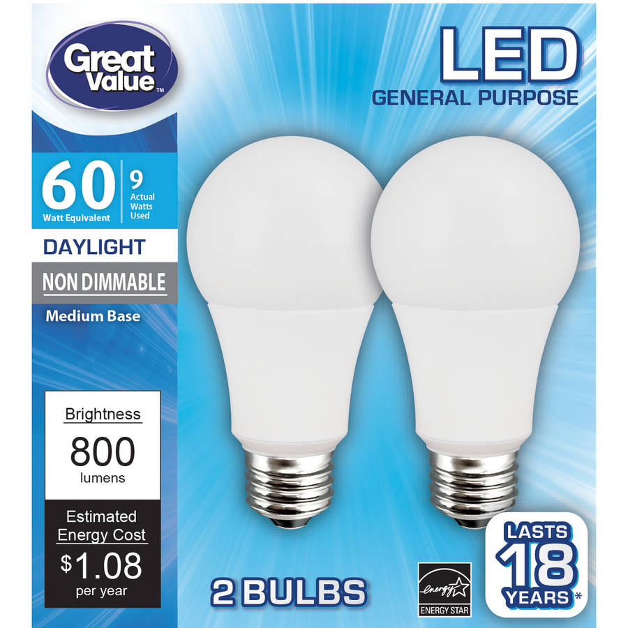 Great Value LED Light Bulb 9W (60W Equivalent) A19 ...