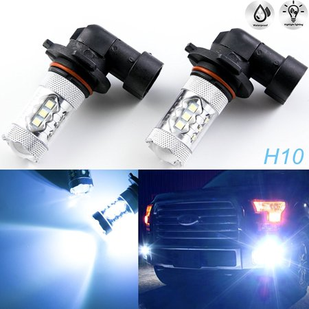Xotic Tech 2 pcs 10000K Ice Blue H10 9145 Projector Lens LED For Fog DRL Daytime Running Light](Led Running)