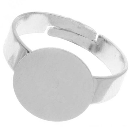 Nickel Alloy Color Adjustable Ring With 12mm Glue On Plate (4) 94 Mm Alloy Ring